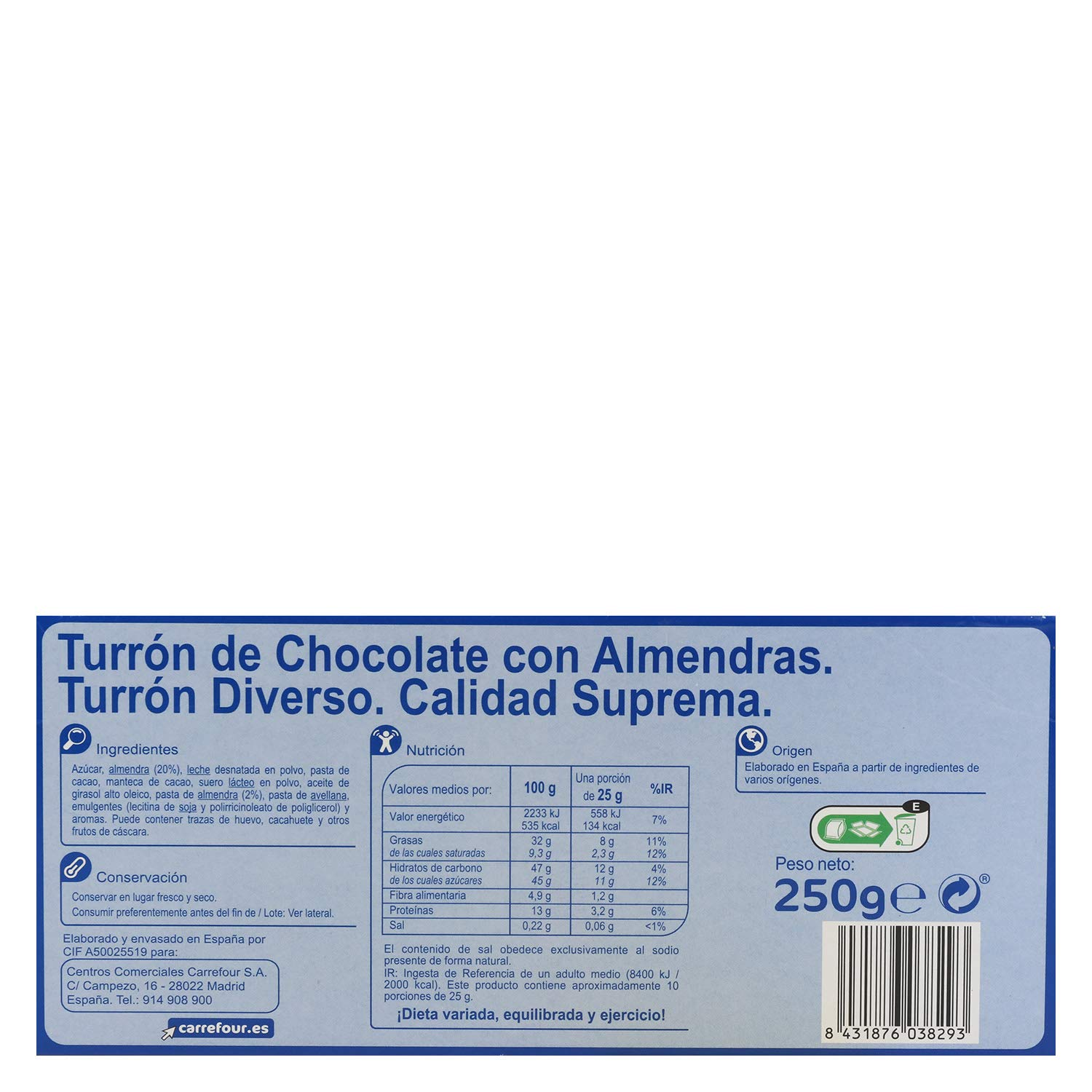 Amazon.com : 3 Pack Carrefour Milk Chocolate With Almonds 250g - Made In Spain - Supreme Quality - Sweet Chocolate With Almonds & Hazelnut - Gluten Free ...
