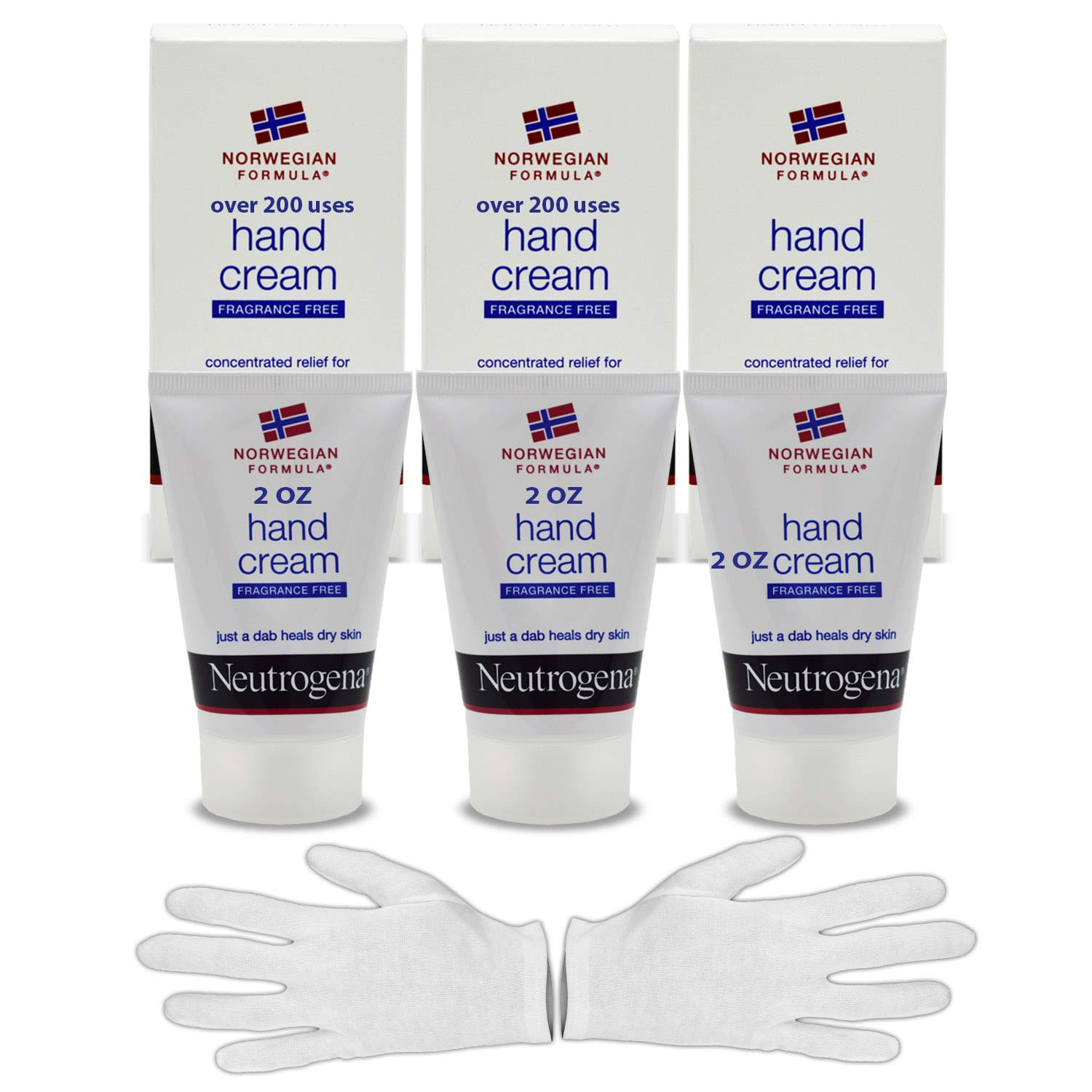 Neutrogena Norwegian Formula Hand Cream Kit: 2 Oz (200 Applications) Hand Lotion For Dry Cracked Hands (3 PK) & HeroFiber Large Overnight Moisturizing Thin White Cotton Sleeping Gloves.