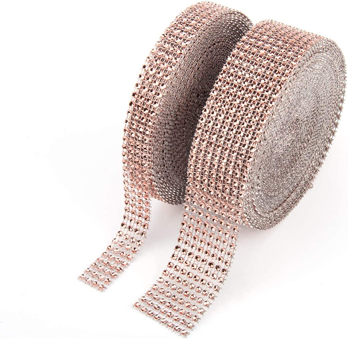 BTSD-home 1 Roll 4 Row 10 Yard and 1 Roll 8 Row 10 Yard Acrylic Rhinestone Diamond Ribbon for Wedding Cakes, Birthday Decorations, Baby Shower Events, Arts and Crafts Projects (2 Rolls, Champagne)