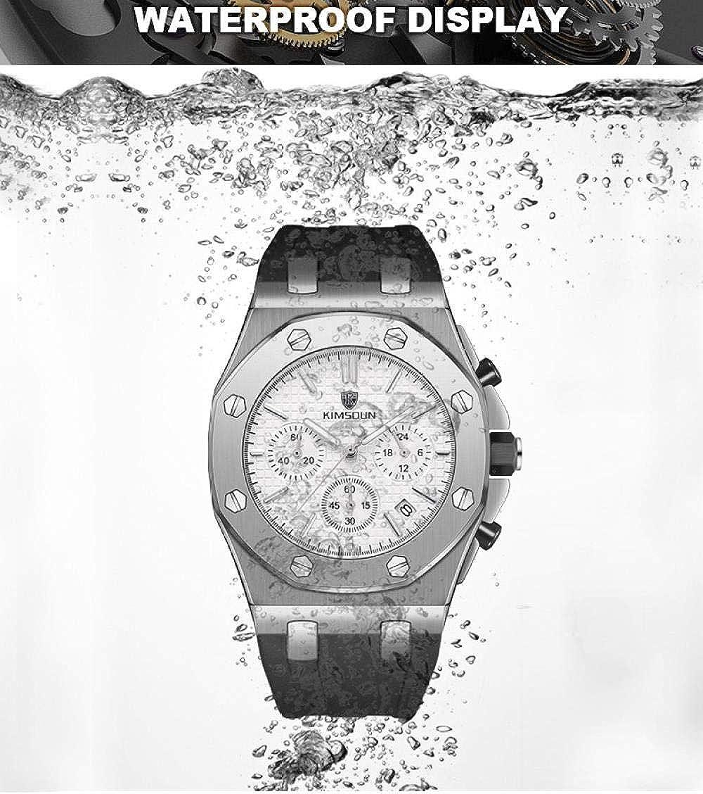 Montres Bracelet,Bracelet en Silicone 3 Yeux Chronographe Multifonction Montre À Quartz Étanche Rose Gold Shell Black Circle Black Face