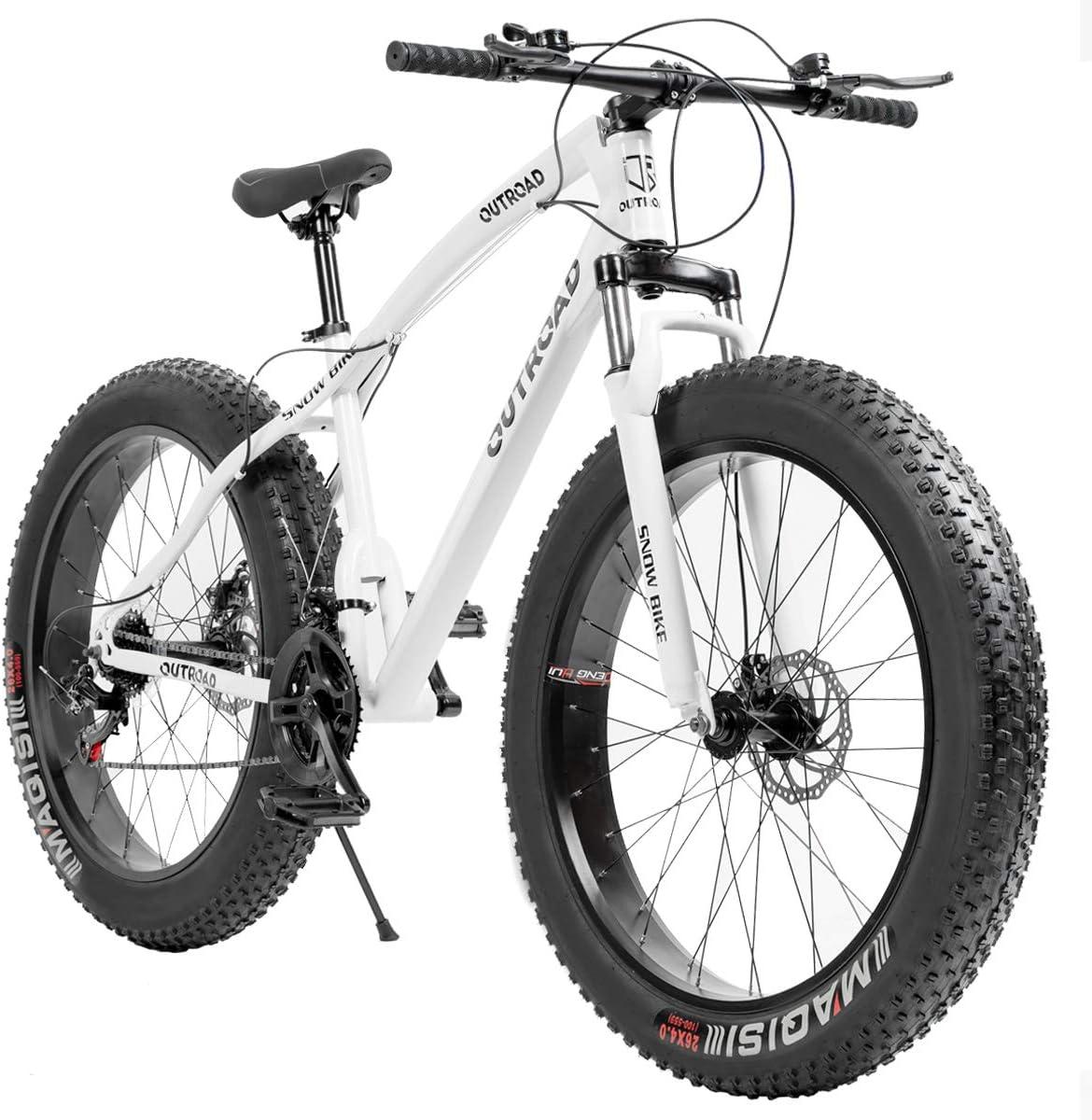 Outroad Mountain Bike 21 Speed Anti-Slip Bike 26 inch Fat Tire Sand Bike Double Disc Brake Suspension Fork Suspension, White or Black
