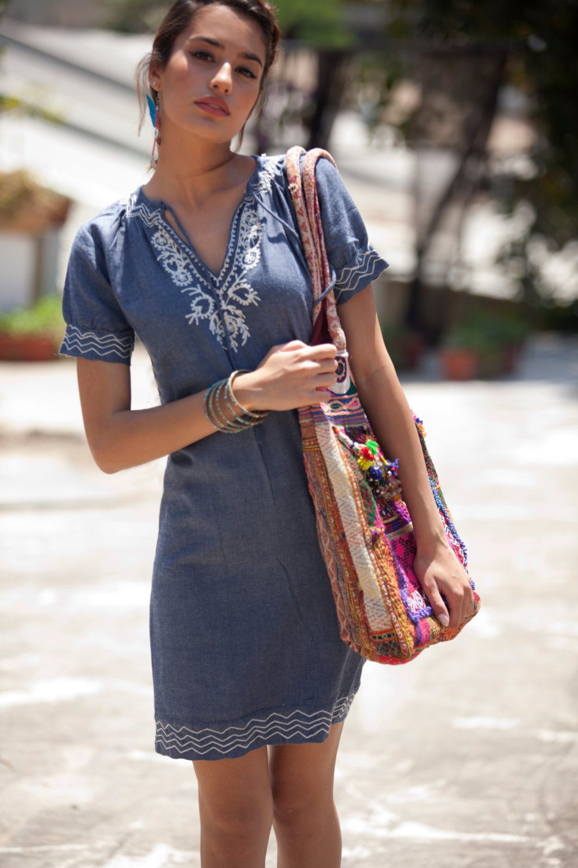 Cotton Jeans Embroidery Dress, Caftan Denim short dress, Ethnic Tribal dress, Bohemian jeans summer dress