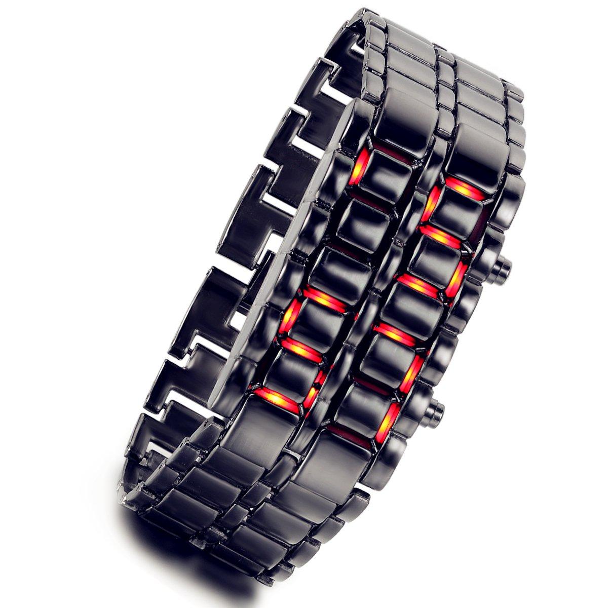 Lancardo - Reloj de Pulsera Digital para Hombre con luz roja y Lava con Correa Muy Creativa