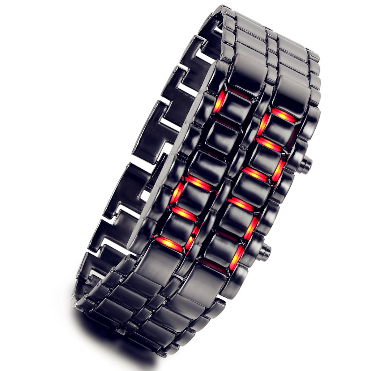 lancardo Hombres de Lava Negro LED rojo Digital reloj de pulsera con banda muy creativa (luz roja)