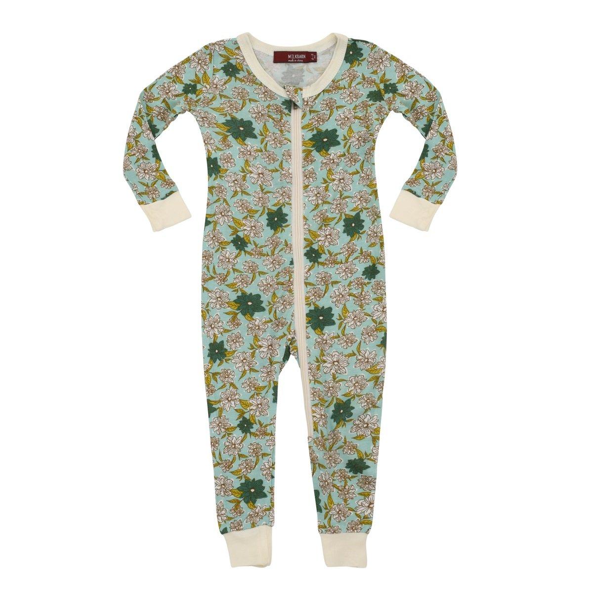 MilkBarn Bamboo Zipper Pajama - Blue Floral (6-9 Month) by MilkBarn
