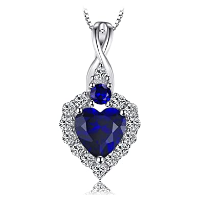 JewelryPalace Classical Heart-Shape 0.9ct Created Sapphire Pendant Necklace 925 Sterling Silver 18 Inches GkstTCHQt4