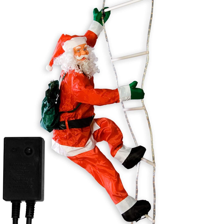 Maxstore Weihnachtsmann auf Leuchtleiter, verstellbar, Gesamthöhe 240 cm, für innen und aussen, 8 Leuchtprogramme Gesamthöhe 240 cm für innen und aussen