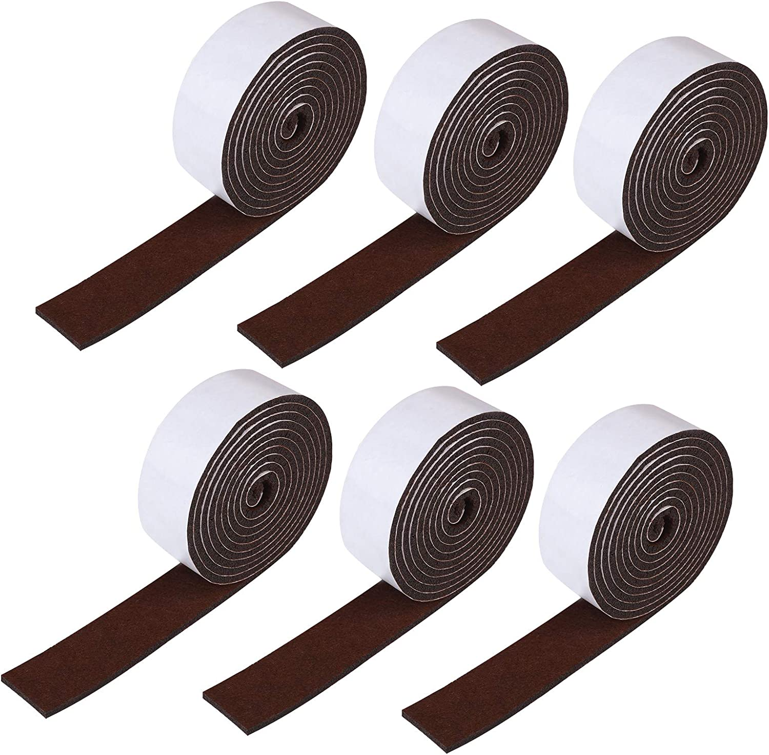 Aneco 6 Pack 1 x 60 Inch Self Adhesive Felt Tape Self-Stick Heavy Duty Felt Strips Felt Adhesive Strip Roll Polyester Felt Tape for Furniture and Hard Surfaces (Brown)