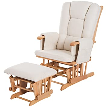 Exceptionnel HOMCOM 2 Piece Glider Recliner Rocking Chair With Ottoman Set    White/Natural Wood