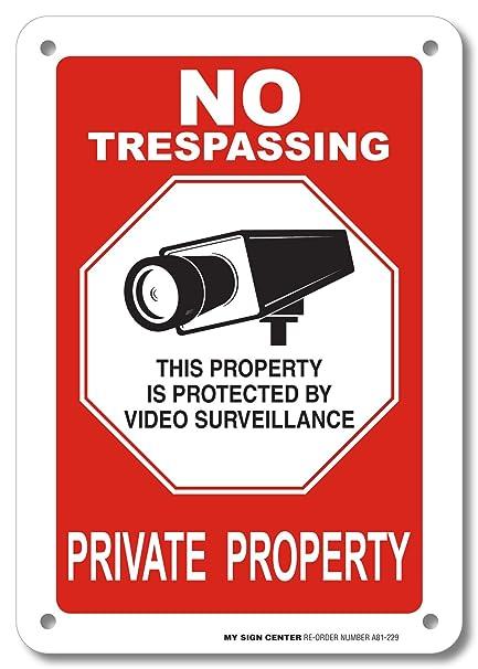 A90-388AL SchildPrivate Property No Trespassing hergestellt in den USA rostfreies Aluminium achteckig 0,040 UV-gesch/ützt und wetterfest