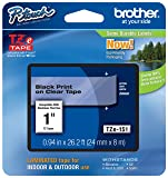 "Genuine Brother 1"" (24mm) Black on Clear TZe P-touch Tape for Brother PT-2430PC, PT2430PC Label Maker"