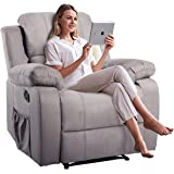 Massage Recliner Chair with Heating Function, Adjustable Reclining Backrest, Extended Leg Rest, Side Pocket and Remote Control, Grey PU Leather