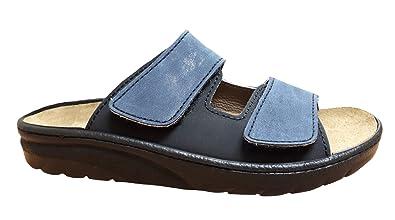 Algemare Herren Leder Pantolette blau Größe 40 bis 47