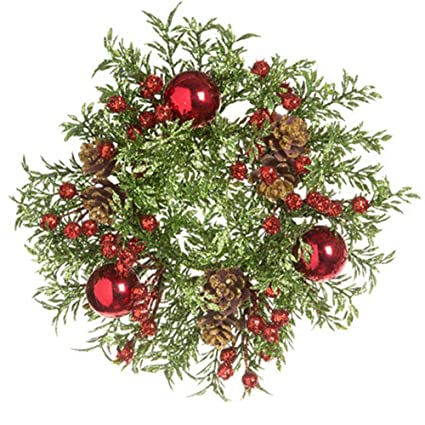 Christmas Greenery.Darice 30028443 Darice Christmas Greenery With Berries And Pinecones Candle Ring Glitter 8in 1 25 Red Green