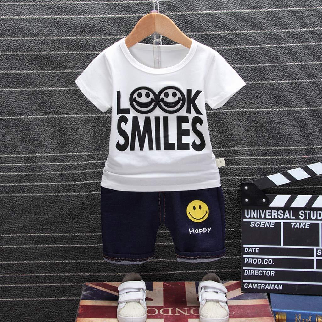 Allence Baby Jungen Bekleidung Set Kurz/ärmelige Einfarbige Kinder-Buchstaben Look Smikes Zweiteiliger Jeansanzug Mit Smiley-T-Shirt