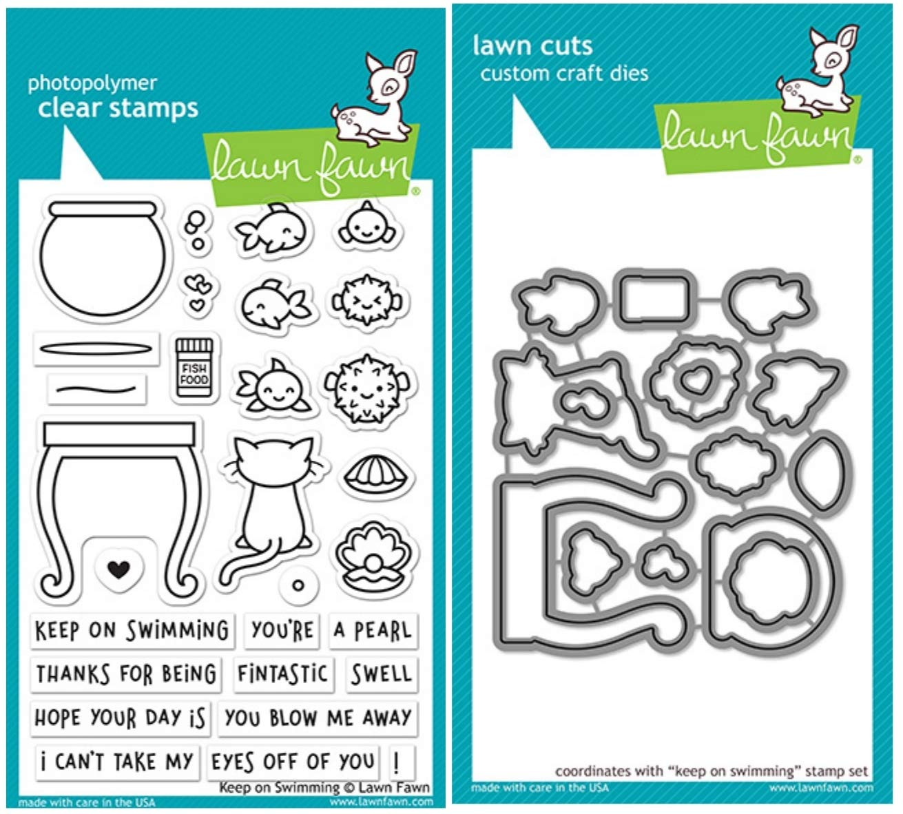 Lawn Fawn Keep on Swimming 4''x6'' Clear Stamps and Coordinating Custom Craft Dies, Bundle of Two Items (LF 1955, LF1956)