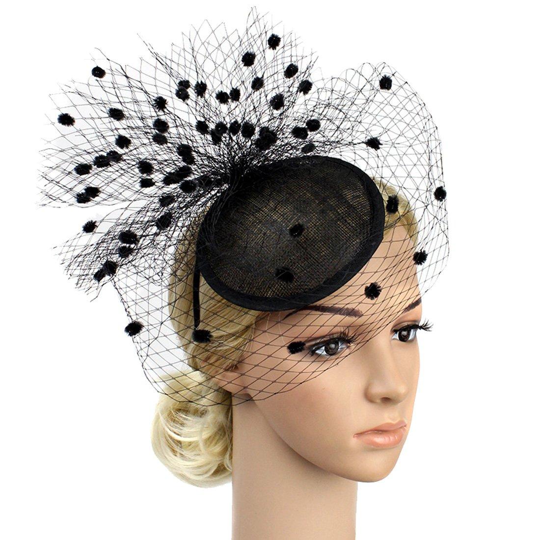 Free Yoka Sinamay Feather Fascinators Womens Pillbox Flower Derby Hat for Cocktail Ball Wedding Church Tea Party (Black B)