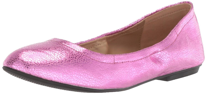 The Fix Women's Sonya Scrunch Metallic Ballet Flat B07711L6K6 8.5 B(M) US|Bubble Gum Pink Metallic Crackle Leather