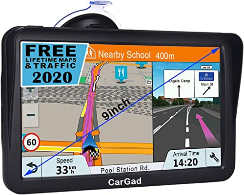 Car GPS,9 inch HD TouchTruck GPS with Sunshade GPS Navigation System for Truck,8GB 256MB Navigation with POI Speed Camera Warning,Voice Guidance Lane,Free Lifetime Map Updates
