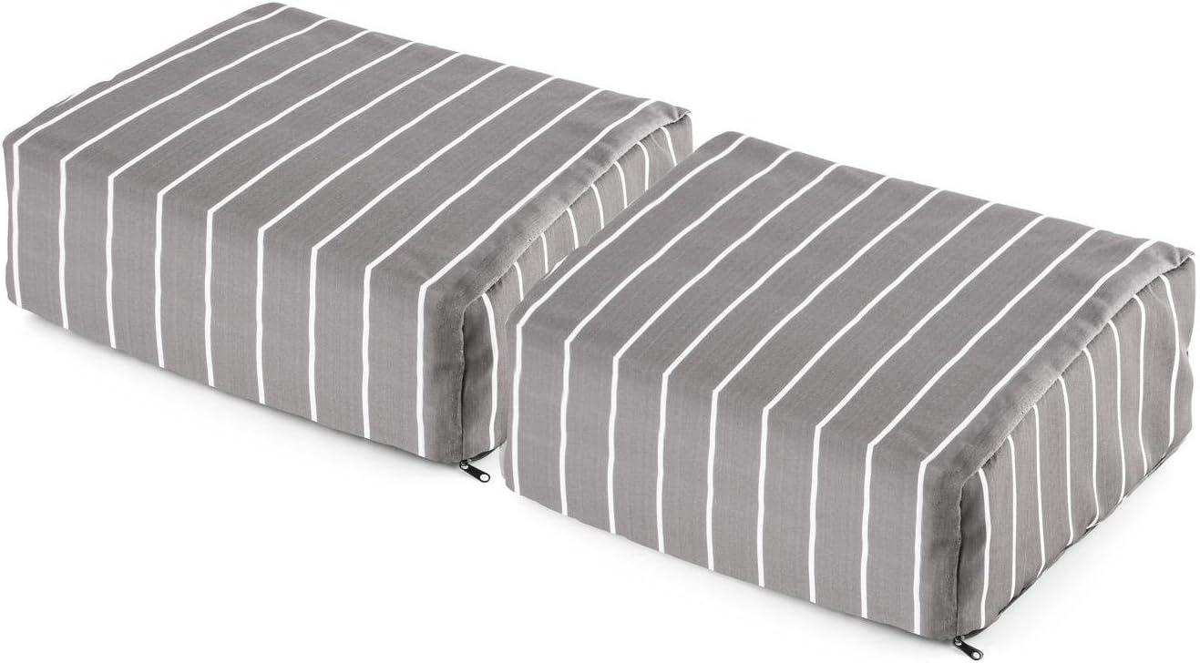 blumfeldt Hiddensee Deluxe reposapiés sillón de Playa gomaespuma 30x13x34 cm Rayado (Cojín extragrueso, Funda Polyester Lavable, Cremallera, sujeción con Velcro): Amazon.es: Hogar