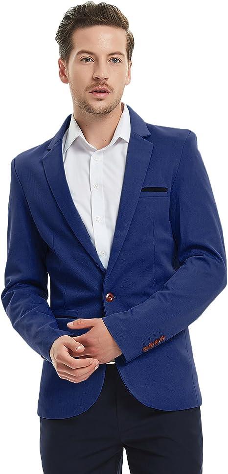Amazon.com: Pishon, traje liso entallado para hombre, con un ...