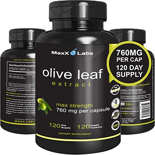 Best Olive Leaf Extract 750mg 120 Capsules – Super Strength Oleuropein Nature s Way to Support Immune System, Blood Pressure Cardiovascular Health – Premium OLE Antioxidant Supplement Pills