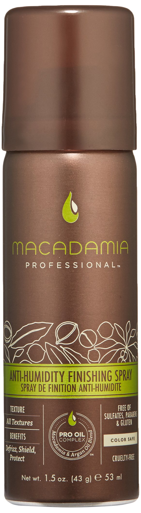 Macadamia Professional Anti-Humidity Finishing Spray - 1.5 oz. - All Hair Textures - Repels Humidity & Fights Frizz - Sulfate, Gluten & Paraben Free, Safe for Color-Treated Hair