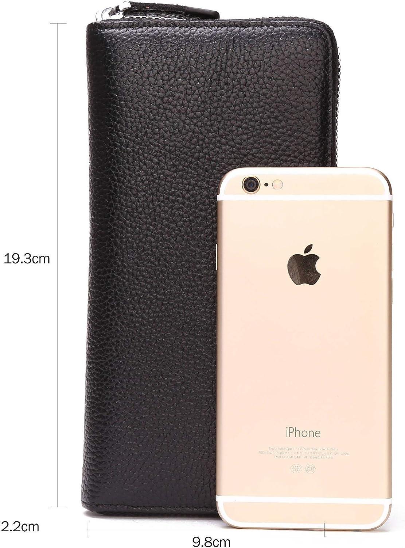 BISON DENIM Top en Cuir v/éritable Business Clutch Bag Organizer Wallet N8226-Noir