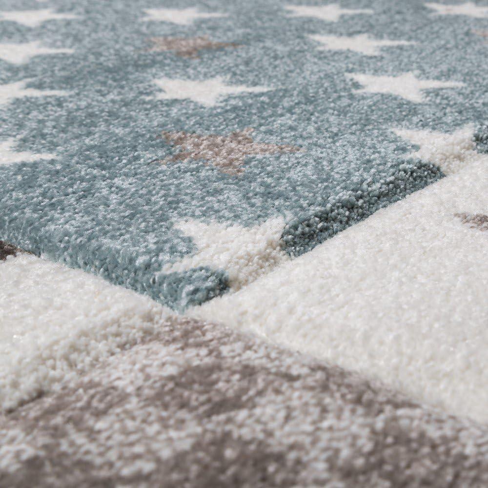 tama/ño:80x150 cm Paco Home Alfombra De Habitaci/ón Infantil Contorneada con Estampado De Estrellas En Beige Crema Colores Pastel