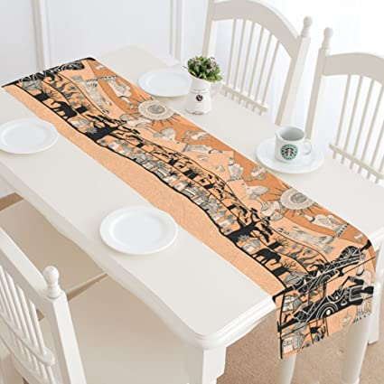 Bon InterestPrint Africa Giraffe Elephant Cotton Table Runner Placemat 16 X 72  Inch, Aztec African Table