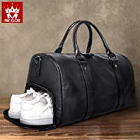 MCGOR Large Capacity Genuine Leather Oversized Duffel Bag Overnight Handbag With Shoes Compartment Sports Gym Tote Bag Black