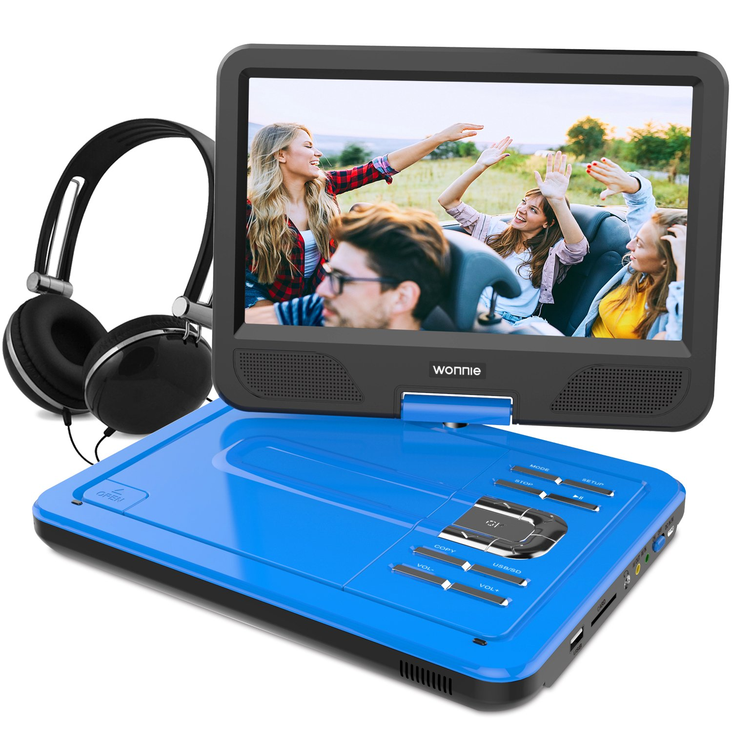 WONNIE 10.5 Inch Portable DVD Player with Swivel Screen, USB / SD Slot Built in 4 Hours Rechargeable Battery (BLUE) by WONNIE