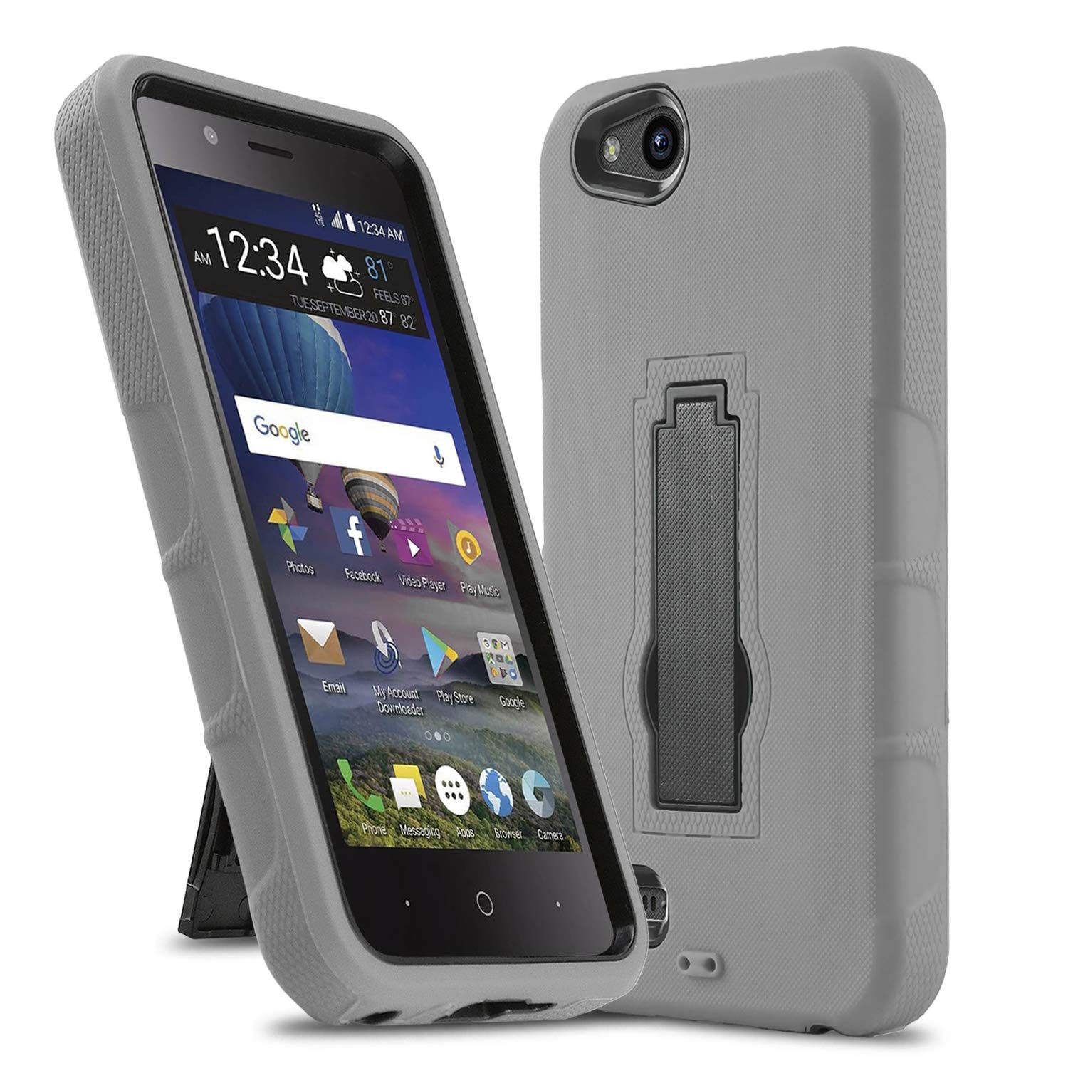 Phone Case for [ZTE ZFIVE G LTE (Z557BL) / ZTE ZFIVE C LTE (Z558VL)],  [Impact Series][Gray] Shockproof [Easy Grip] Cover with [Kickstand]  (Tracfone,