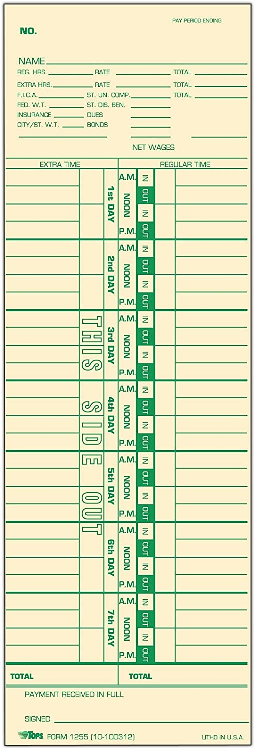 """Green 15-800622 Manila TOPS Job Cards Replaces L-61 1-Sided 3-1//2/"""" x 9/"""""""