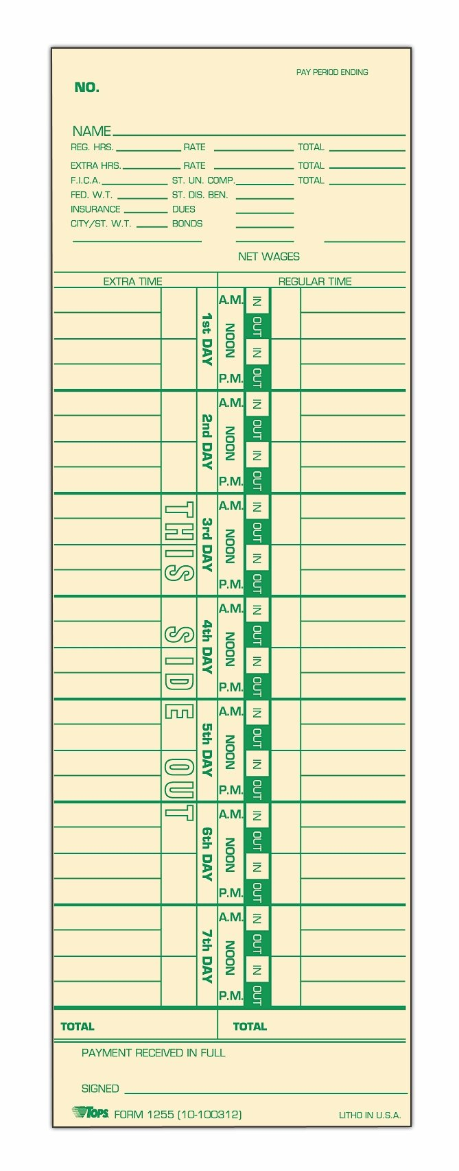 TOPS Time Cards, Weekly, 1-Sided, Numbered Days, 3-1/2'' x 10-1/2'', Manila, Green Print, 500-Count (1255)