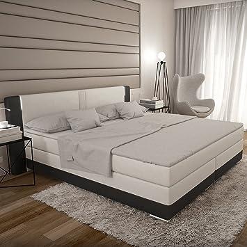 Bett weiß leder 180x200  Bargo Boxspringbett 180x200 cm - weiß schwarzes Polster-Bett in ...