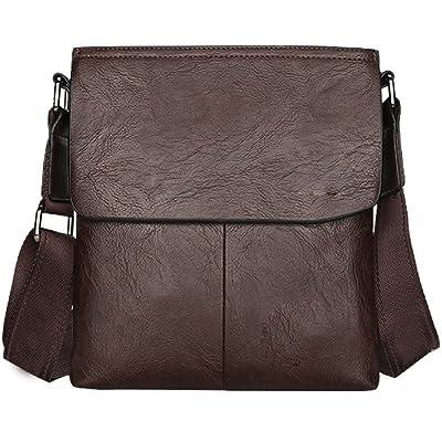 4FSGLOBAL New Composite Leather Men Messenger Bag British Style Fashion Travel Bag Shoulder Casual Office Bag (coffee)