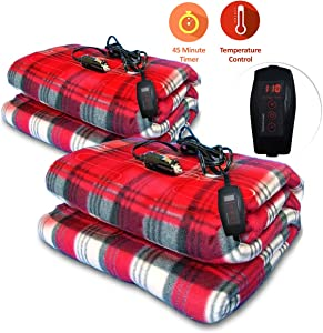 Zone Tech Set of Two Car Heated Travel Blanket – Plaid Premium Quality 12V Automotive Comfortable Heating Car Seat Blanket Great for Winter