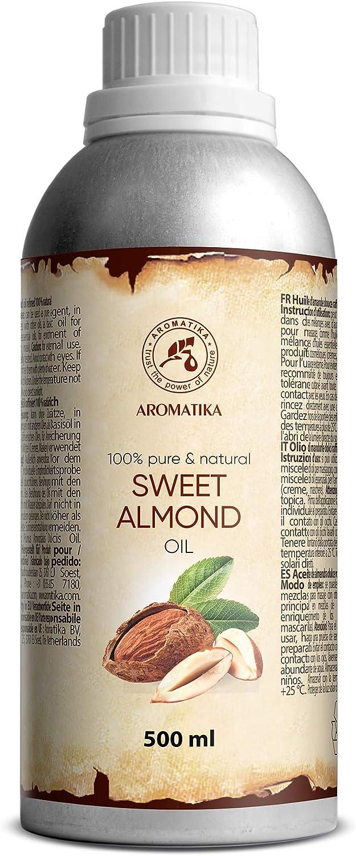 Aceites de Almendra 500ml - Prunus Amygdalus Dulcis Oil - Italia - Aceite para Mejor Cuidado de Piel - Cabello - Cuerpo - Masaje - Cuidado Personal - Sweet Almond Oil