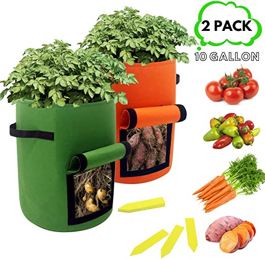 king do way Vegetable Grow Bags,5 Pack Plant Grow Bags Breathable Garden Growing Bag Planting Tomato Fabric Pots Garden Planter Container with Strap Handles for Home,Potato,Carrot Planter Bags 5Gallon
