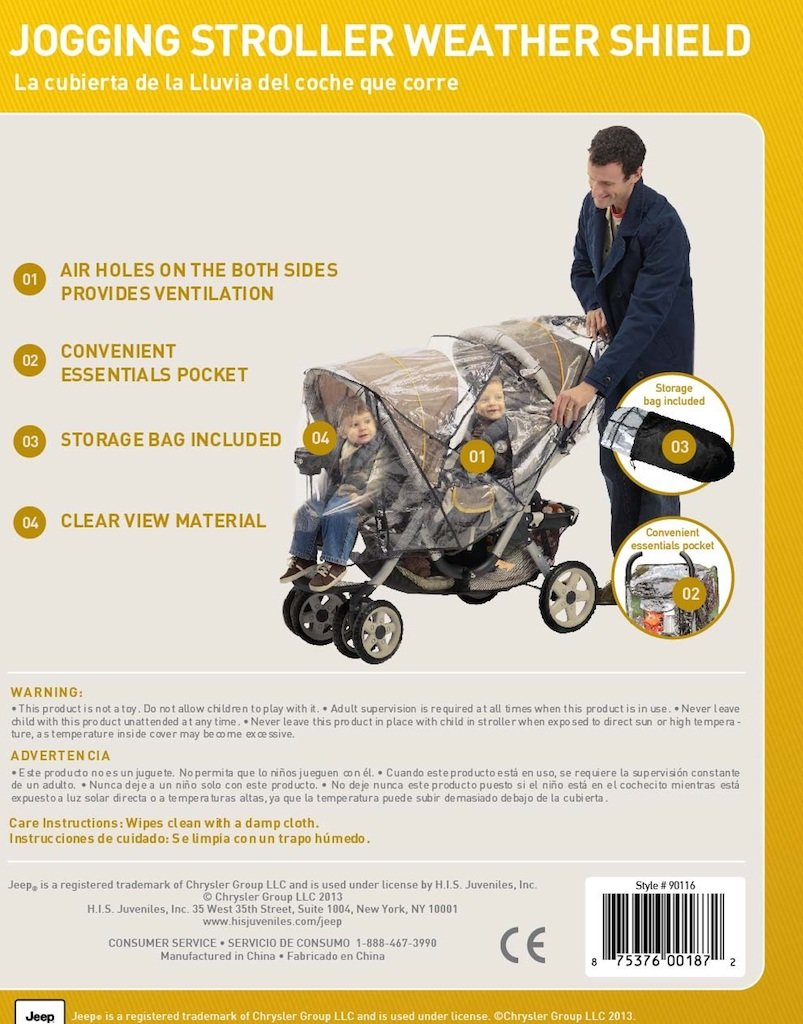 J is for Jeep Tandem Stroller Weather Shield, Baby Rain Cover, Universal Size, Waterproof, Water Resistant, Windproof, See Thru, Ventilation, Clear, Plastic, Protection, Shade, Umbrella, Pram, Vinyl, Double HIS Juveniles 90112