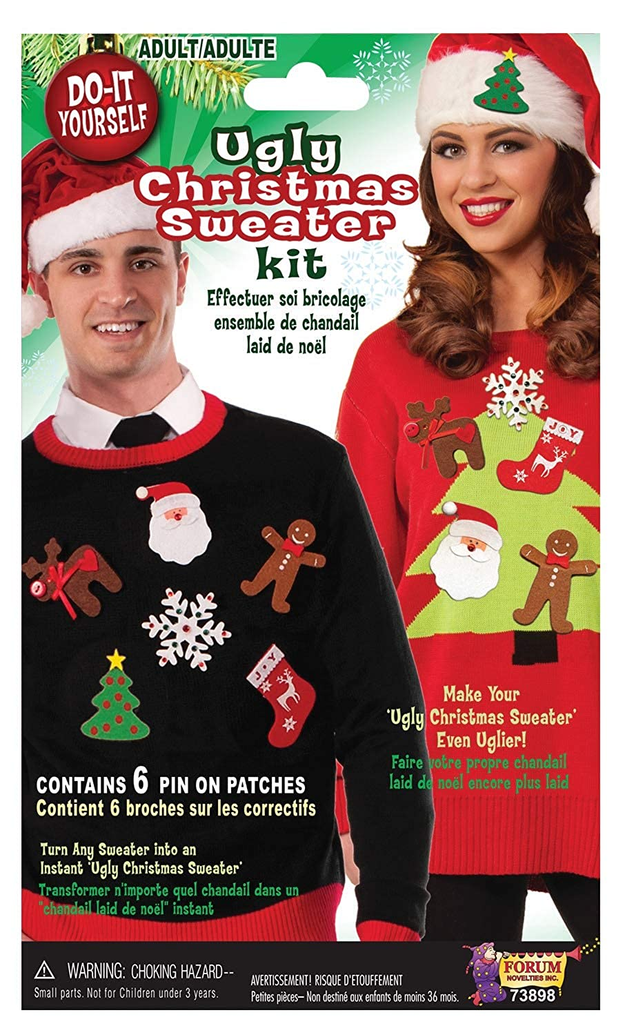 fc695cbc57f Amazon.com  Forum Novelties Men s Do It Yourself Ugly Christmas Sweater  Kit