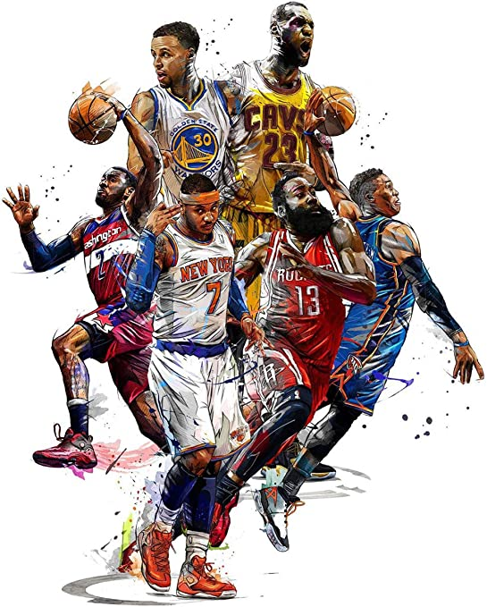 Stephen Curry LeBron James Basketball Stars Print Art Silk Poster