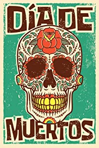 Day of The Dead Sugar Skull Spanish Vintage Design Cool Wall Decor Art Print Poster 12x18
