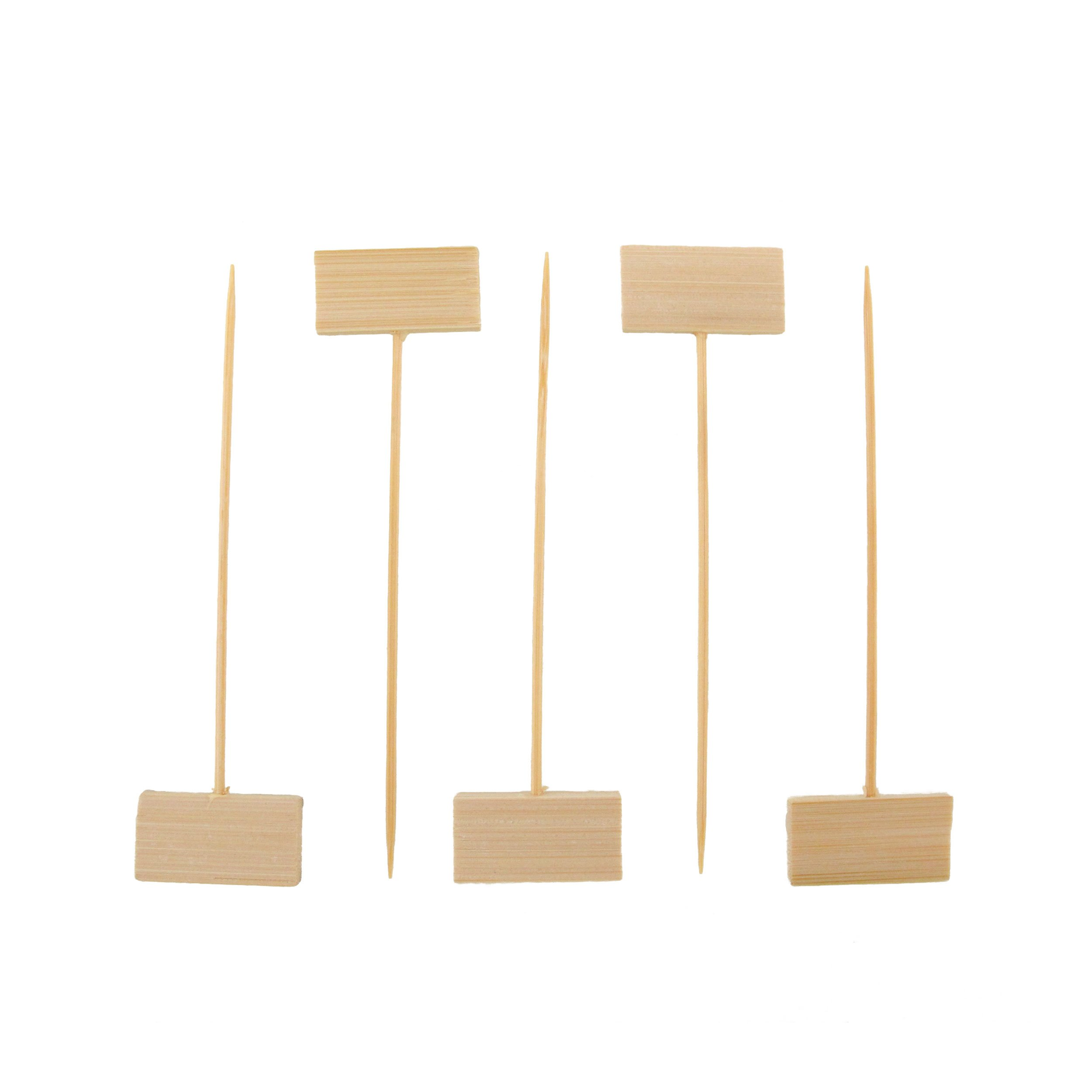 BambooMN 4'' Decorative Bamboo Small Billboard Cocktail Hors' D'oeuvres Pick Skewer for Events, Restaurants, or Home Party Supplies, 300 Pieces