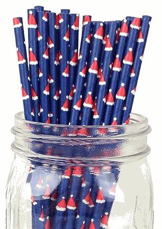 Diseño de gorro de Navidad Set de 100 Count Tamaño 7 3/4 (diseño de vacaciones de papel pajita de incienso palos para Cake Pop moldes ...