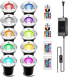 INNERWILL Landscape Lighting 10Pack 3W RGB INNERWILL Color Changing LED Lights Low Voltage IP67 Waterproof Ground Light with Remote Controls and Transformer for Outdoor, Garden, Lawn, Pathway, Deck