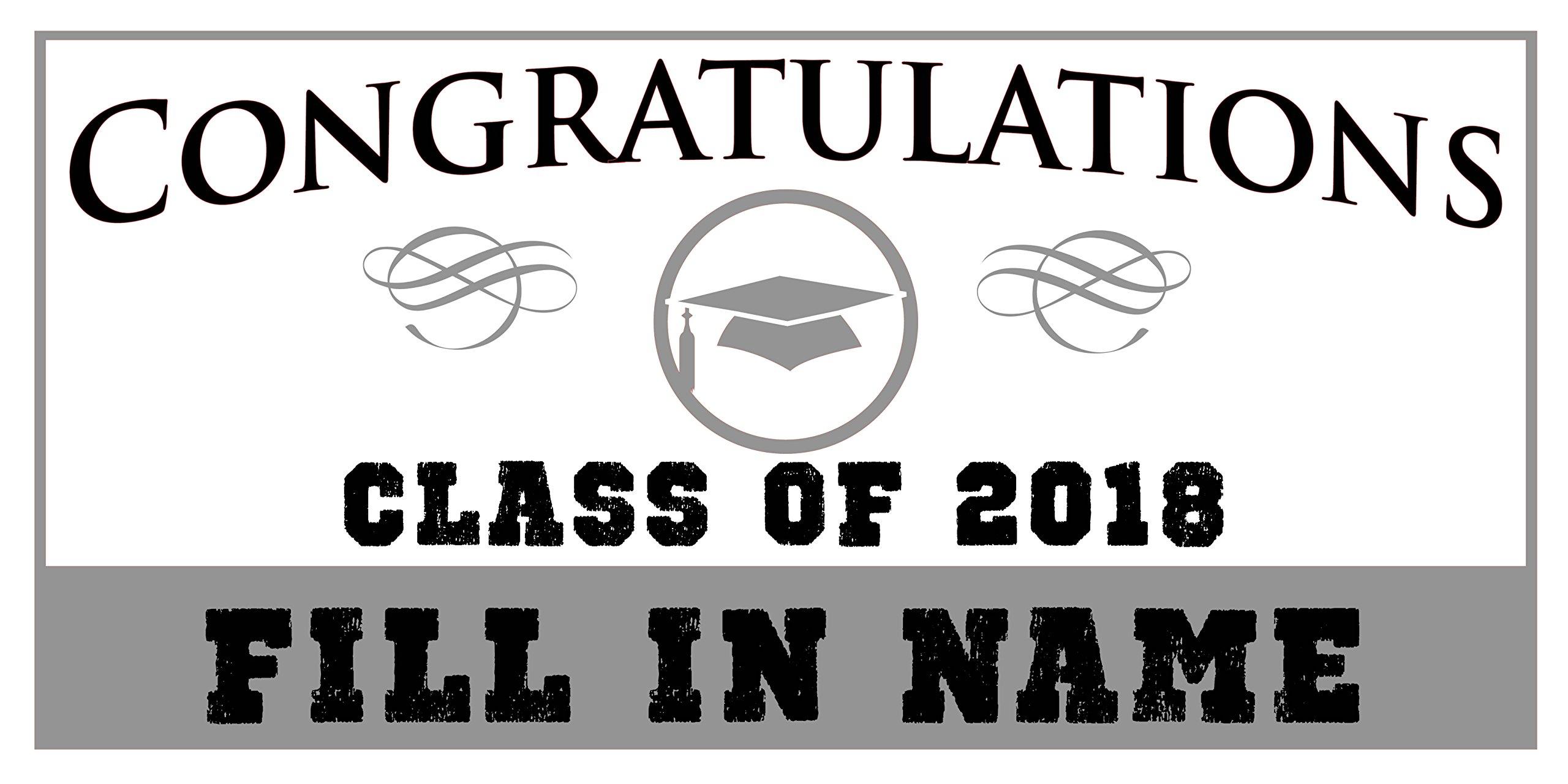 Custom Printed Graduation Banner Congratulations - Hat Gray (10' x 5')