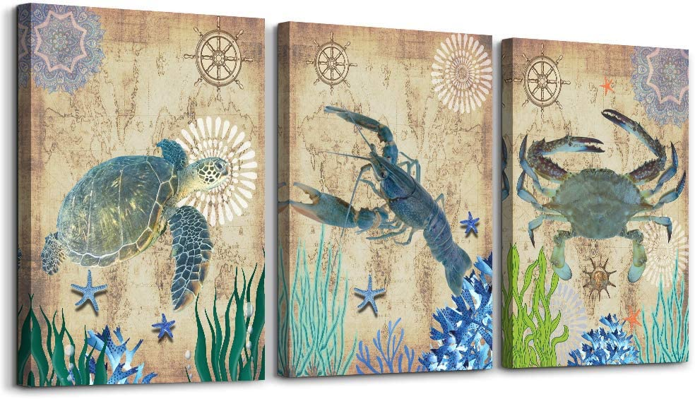 green Ocean Theme Mediterranean turtle, shrimp and crab modern Canvas Prints Wall Art Paintings Wall Artworks Pictures for Living Room Bedroom Decoration, 3 Panels Home bathroom Wall decor posters