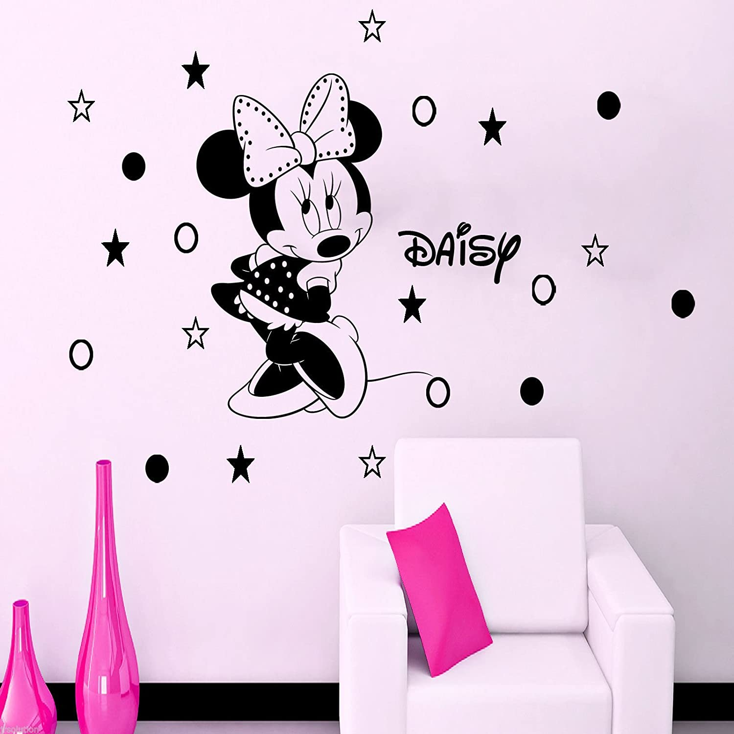 Disney Minnie Mouse Removable Polka Dot Girls Personalised Name Vinyl Wall Art Home Decor Sticker With 20 Stars